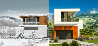 Guardian Glass - ClimaGuard - 70/36 - all season photograph of modern house, winter and summer