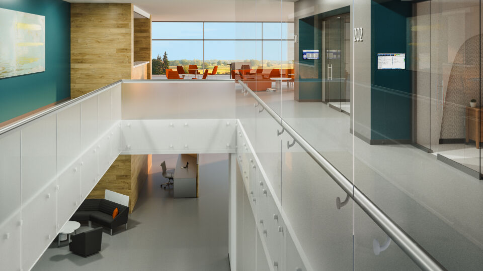 Interiors of an office building with SatinDeco Acid-Etched glass railing