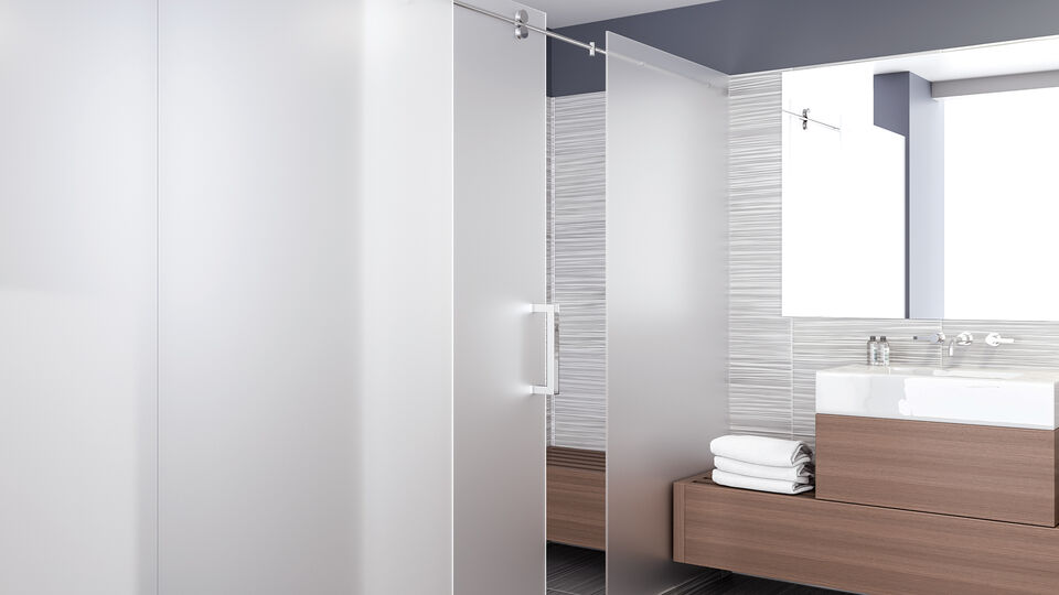 sliding glass shower door with SatinDeco and ShowerGuard