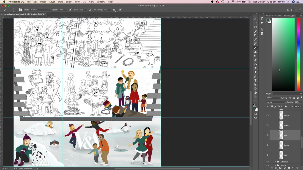 Screengrab of the VADvent illustration in progress, so some areas of the illustration are smple, clean black and white drawings while others are fully coloured and textured. In one of the areas, a groupe of different coloured patches show the palette Nicole chose to make the colouring work across the whole large image.