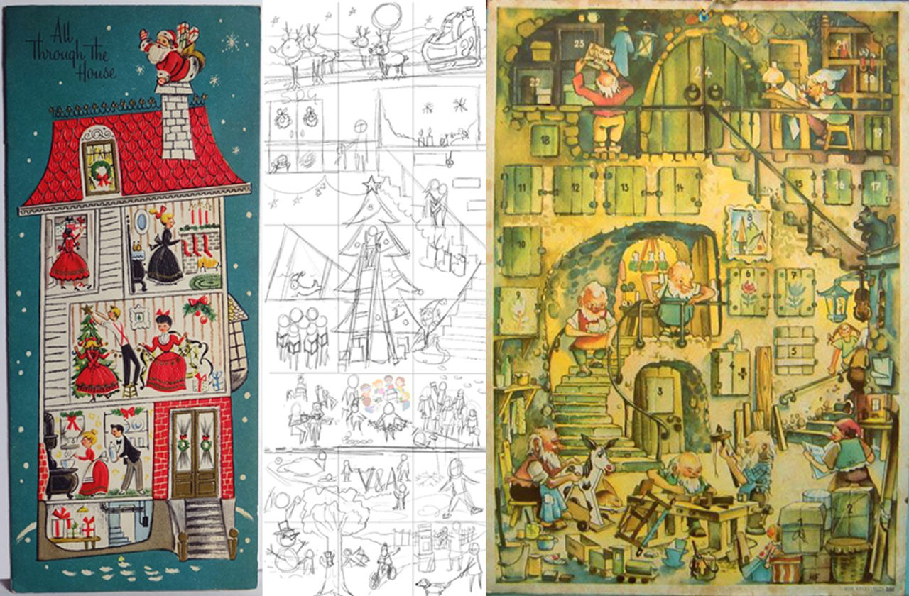 three images in a row: two on either end depict a colourful wintery scene outside and a house with its walls cutaway so you can the inside, featuring people having a festive time. The middle image is a simple sketch of Nicole's design for the VADvent calendar.