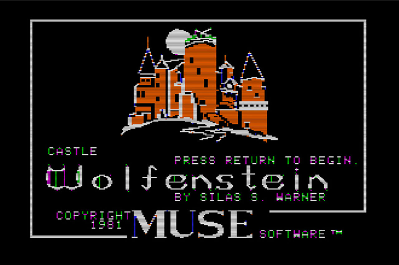 Screengrab of Castle Wolfenstein's title screen showing an 8-bit castle with the title of the game on it.