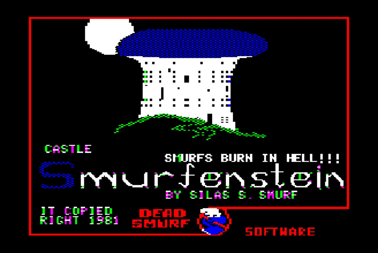 Screengrab of Castle Smurfenstein's title screen showing an 8-bit castle with the title of the game on it.