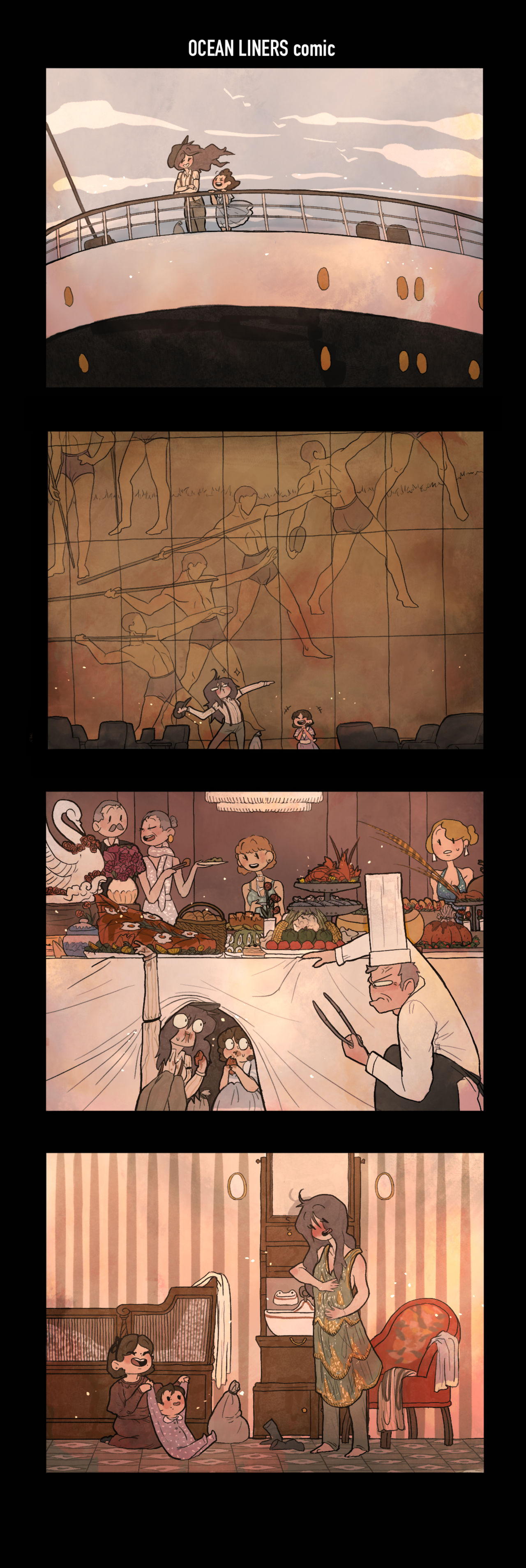 A stacked four-panel webcomic. The top panel shows an adult person standing next to a child in a blue dress on the prow of a ship. The second panel shows the two people in front of a huge bronze panel depicting athletes. The third panel shows a decadent banquet taking place and our two characters are sat under the table, obscured by the table cloth as a chef finds them by lifting it up. The final panel shows them both in a cabin trying on twenties dresses and playing with a baby.