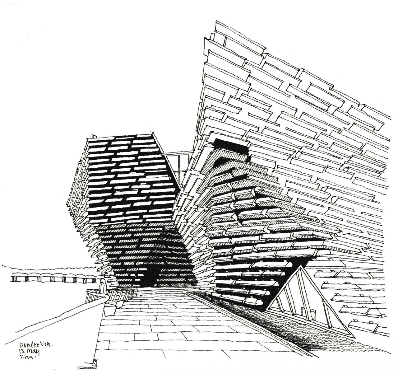 A black and white pen drawing of V&A Dundee and all its lines and crooked edges. The Tay River is beside the museum and the Tay Rail Bridge can be seen in the distance.