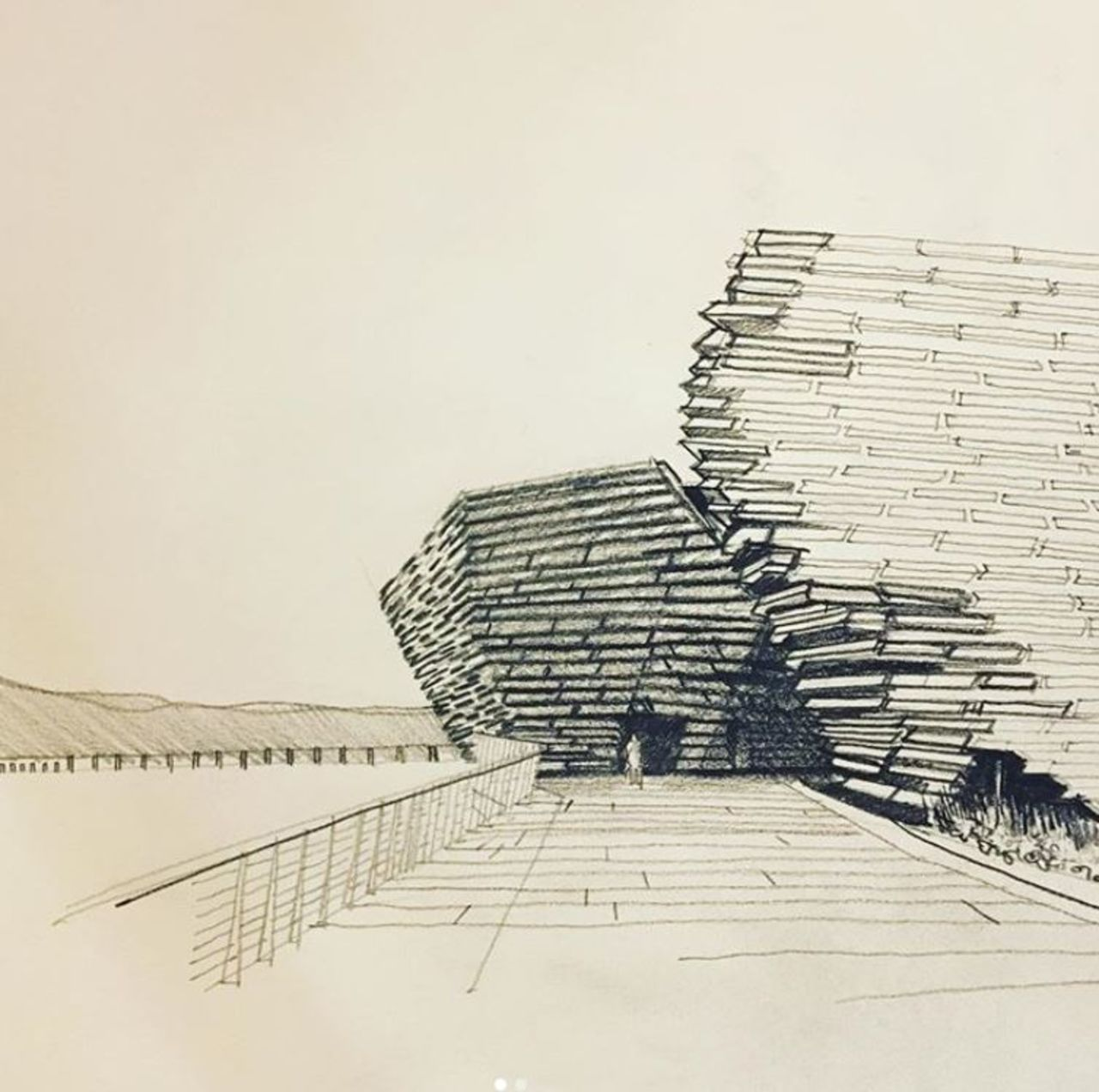 A rough but clear and well done pencil sketch of V&A Dundee on the water's edge.
