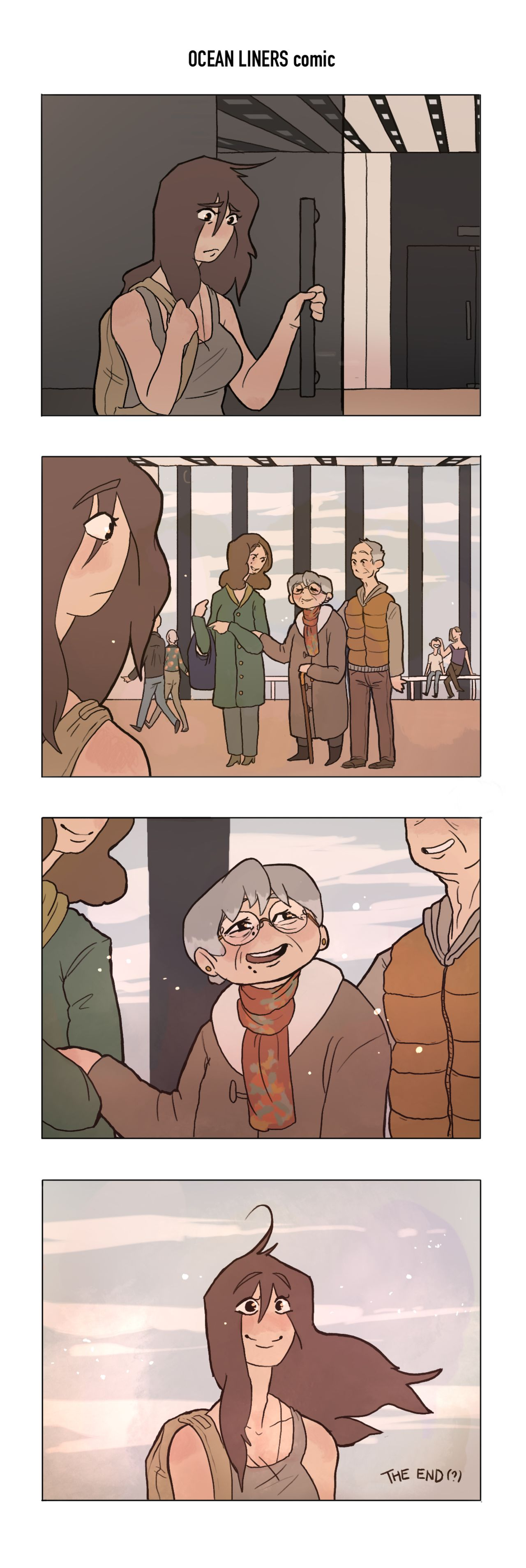 A stacked four-panel webcomic. The top panel shows a slightly sad person leaving an exhibition after their flight of fancy ended, realising it was fantasy. The second panel show them seeing an elderly couple in the museum with the older woman holding the arm with a younger one. The third panel is a close-up of the older lady who is smiling and happy, wearing a scarf with the same print as a dress worn by the little girl in the fantasy section of the earlier strip. The final panel is back to our protagonist who is now happy and serene.