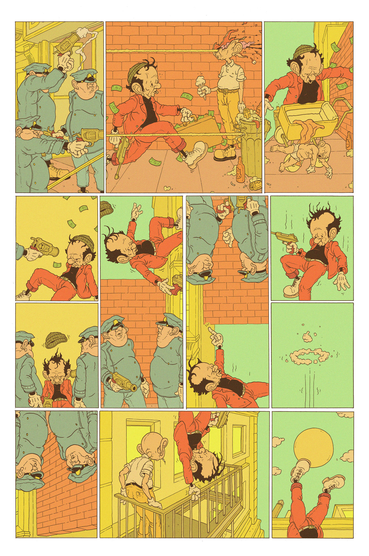A multi-panelled comic depicting a robber in a red suit and yellow beanie running away from police. he's carrying a pistol and a suitcase full of cash. In a beautifully grotesque aesthetic style, he runs through the street as police shoot at him, hitting others. He's almost caught and suddenly he is lifted into the sky. His centre of gravity has reversed and he holds on to a railing at the top of a building to stop from floating away.