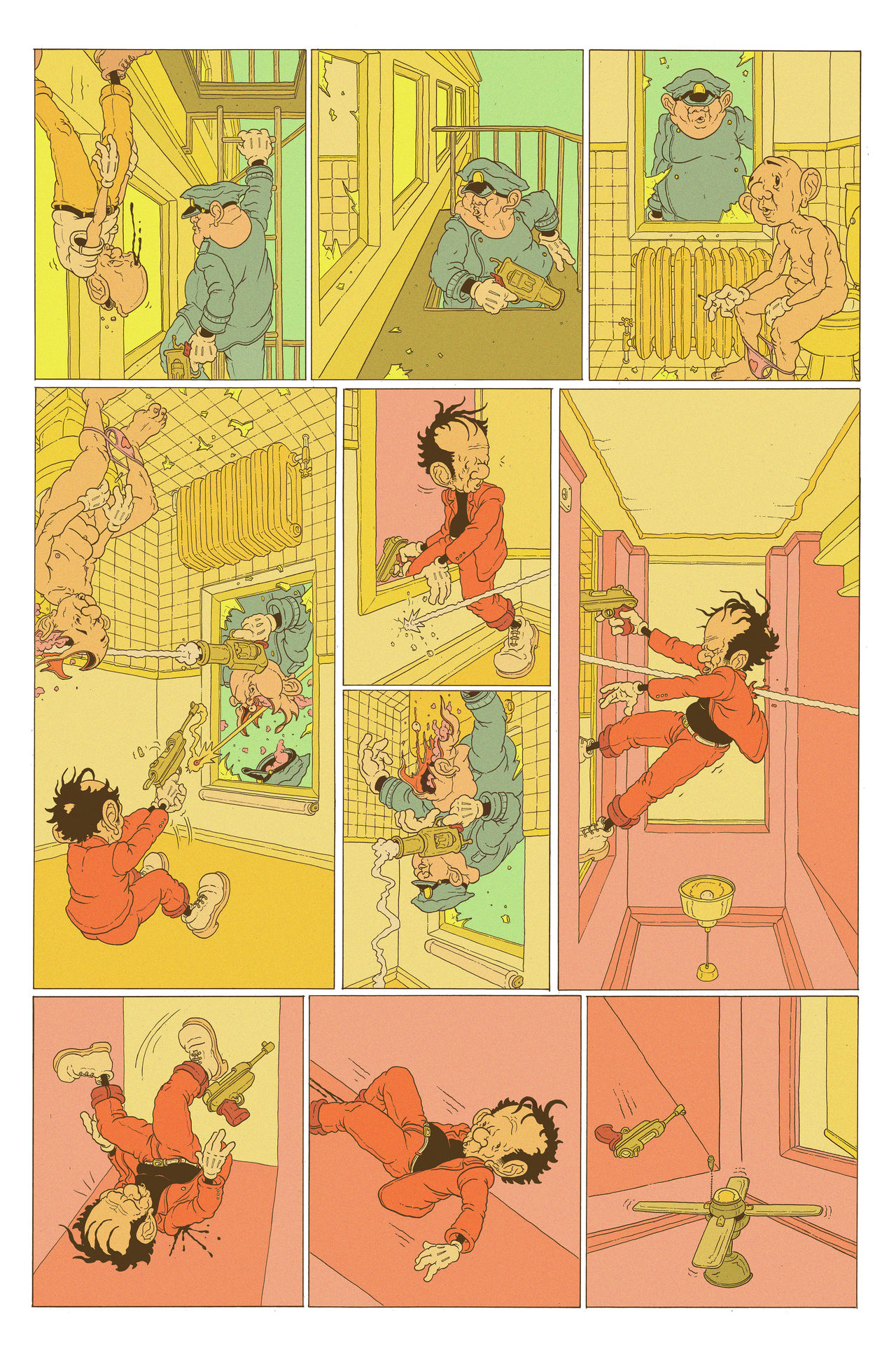 "A multi-panelled comic depicting a robber in a red suit and yellow beanie running away from police. He's just lost his centre of gravity and is floating up.  He managed to get into someone's apartment high up in a building and the police are in pursuit. They pop in to someone's bathroom and the robber is on the ceiling and they have a shoot out and the robber gets shots and falls ""up"" towards a ceiling fan."