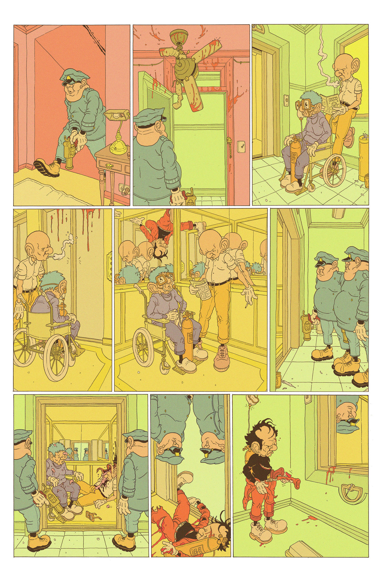 A multi-panelled comic depicting a robber in a red suit and yellow beanie running away from police. After the robber loses his centre of gravity, he can be seen hurtling towards a ceiling fan. The collision leaves him injured. Despite being hurt, the robber enters the building elevator where he floats on the ceiling above two by-standers. Police wait as the lift opens on another floor, mistaking the by-standers for the robber they shot as the doors open. The robber remains upside down, one step ahead of the Police, as they stand in front of the elevator doors oblivious to the fact that the robber has just passed over their heads