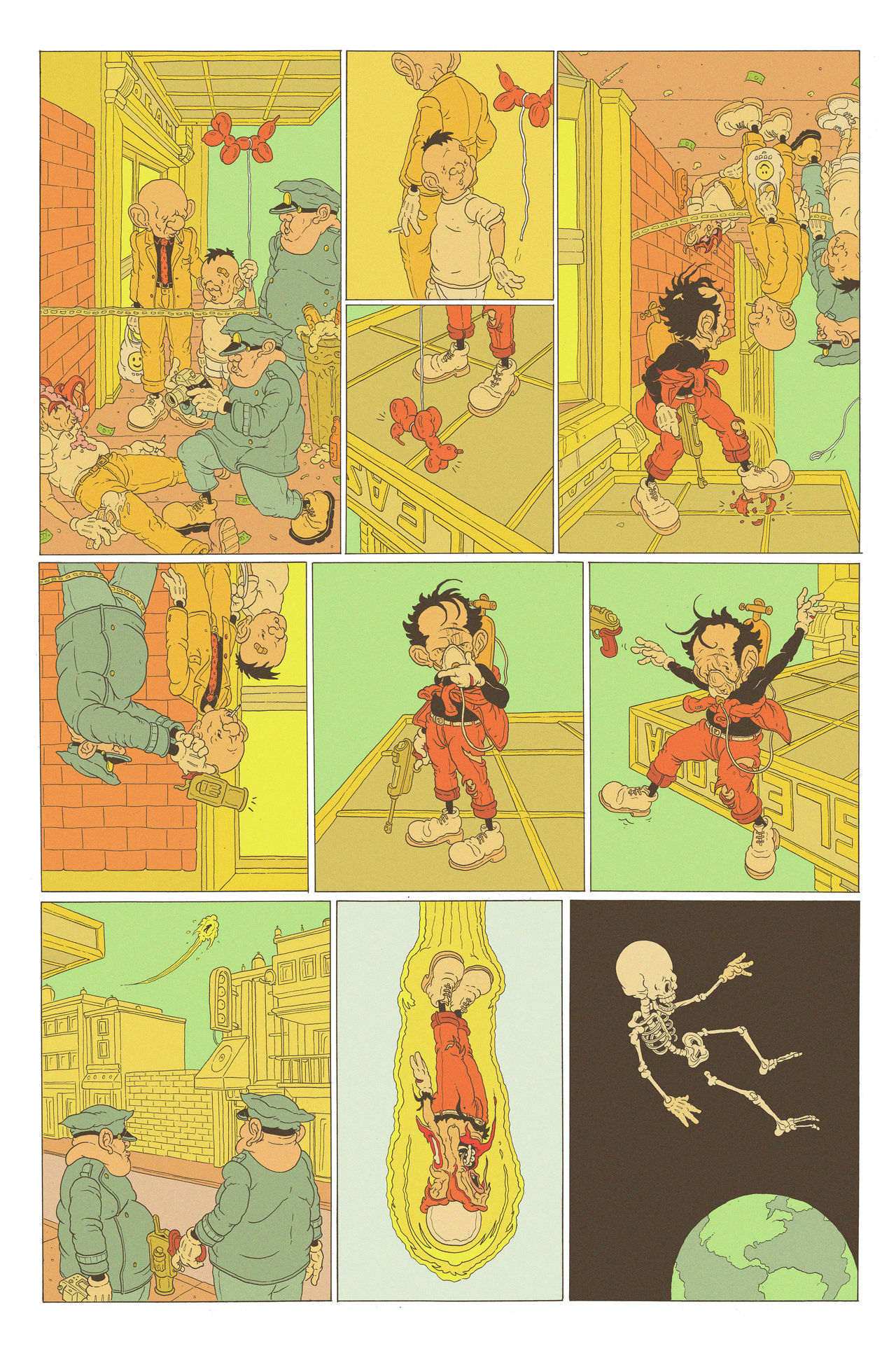 A multi-panelled comic depicting a robber in a red suit and yellow beanie running away from police. His gravity gone, the robber is on the ceiling of a building as the police follow his trail of doom. A helium balloon floats up to where he's standing and he accidentally pops it, drawing attention. He steps away from the ceiling, floating up into the sky and leaves earth's atmosphere, his skin and flesh stripped from his bones in the process.