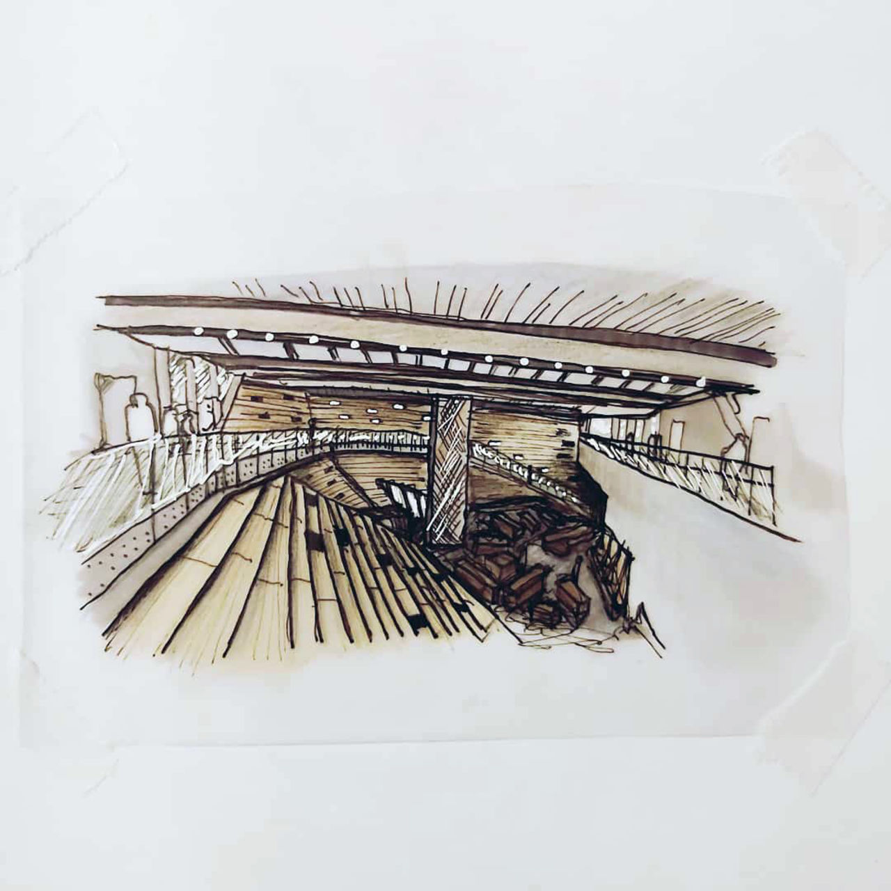 Image depicts a colour sketch of the interior of V&A Dundee, created using rendering pens and pencil., created using rendering pens and pencil, created using rendering pens and pencil.