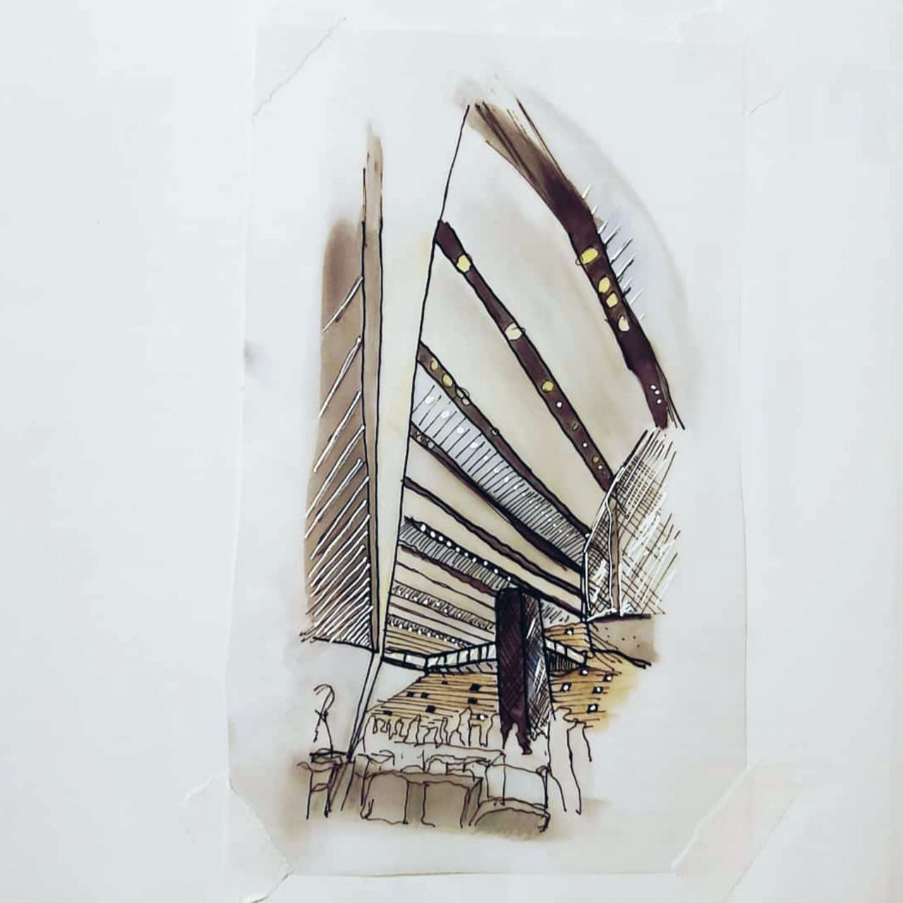Image depicts a colour sketch of the interior of V&A Dundee, created using rendering pens and pencil.