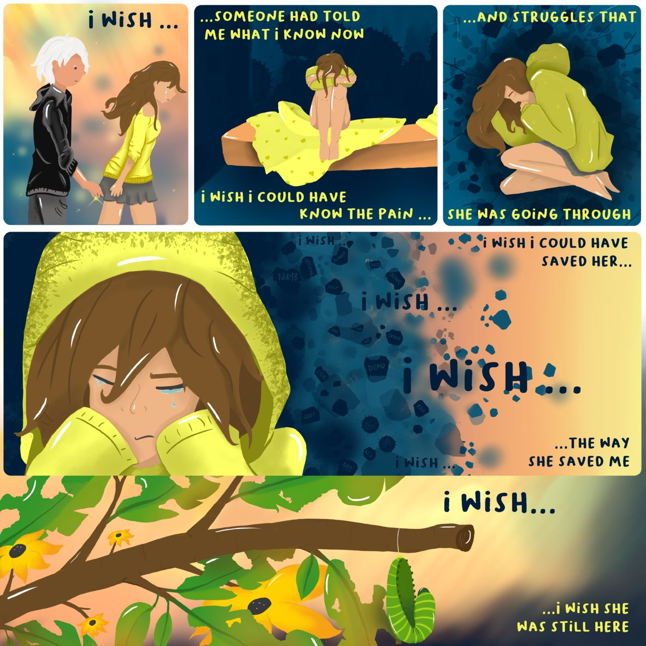 Multi-panel webcomic depicting two people in a relationship, with the male character reflecting on the mental health issues his partner was going through and how he didn't realise and wishes he had and could have helped her. Could have saved her.