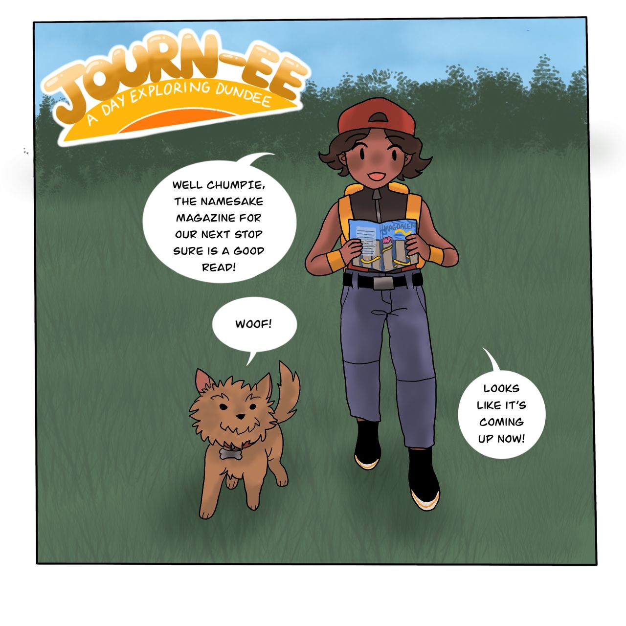Start of a new comic. This single panel shows a character and their dog walking, reading the Magdalen Green magazine looking for sights.