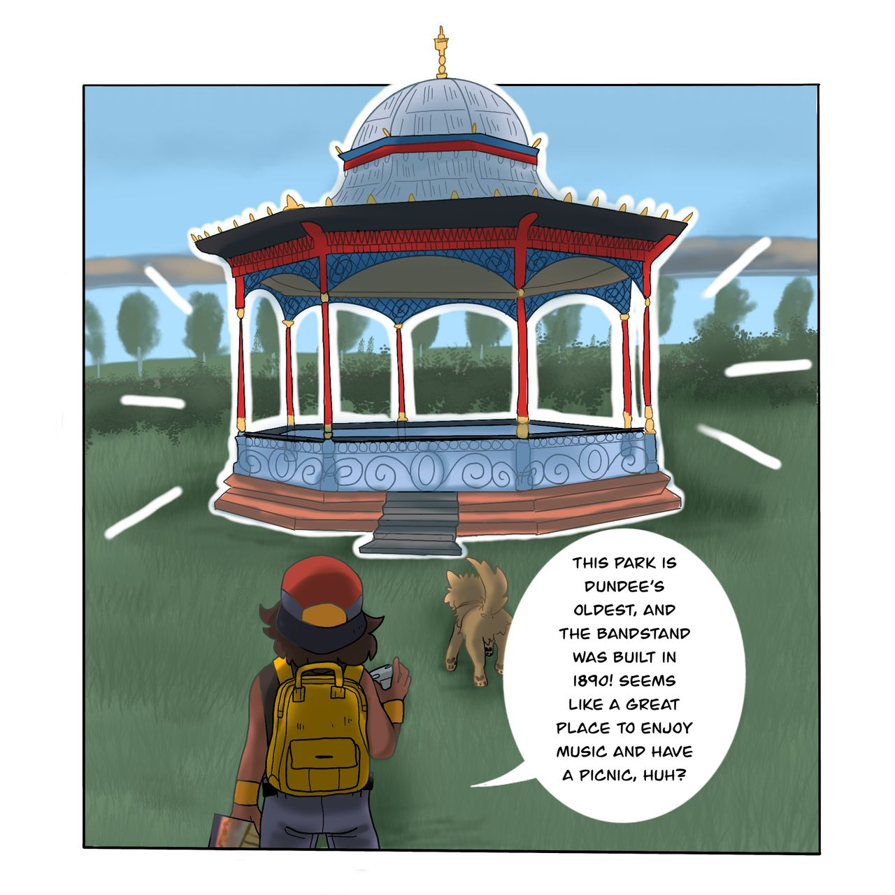 This webcomic panel shows the two characters looking at the bandstand in Magdalen Green, admiring it.