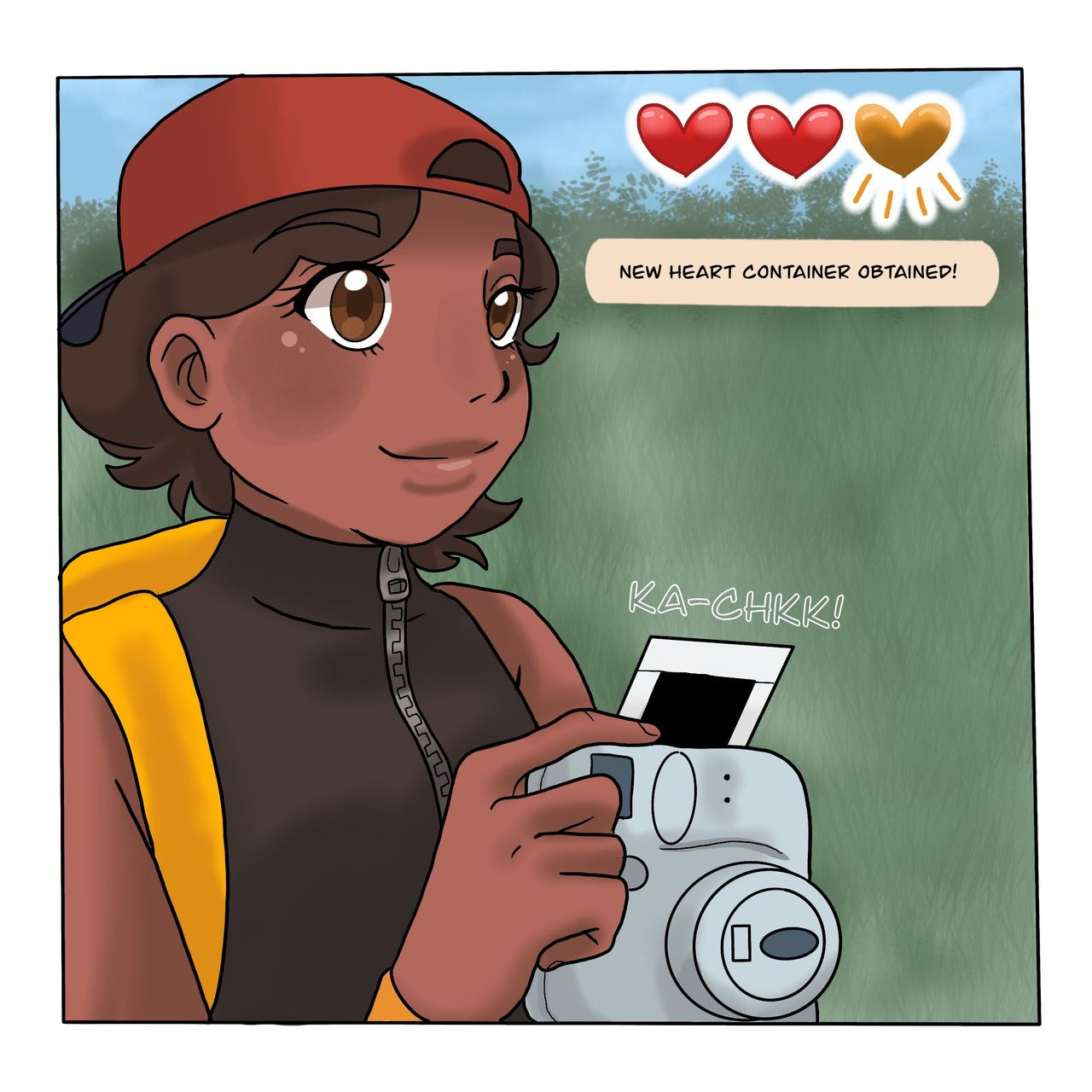 "This webcomic panel shows the character taking a photo of the bandstand and achieving a ""heart"" in the style of a videogame."