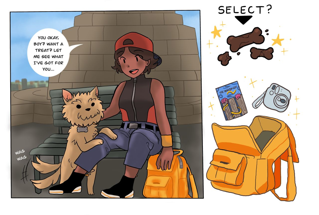 This webcomic panel shows the character sitting by the Law monument with their dog asking if they want a treat. To the right is a bag icon with treat and books and the other contents of the bag shown with a selector, like a videogame.