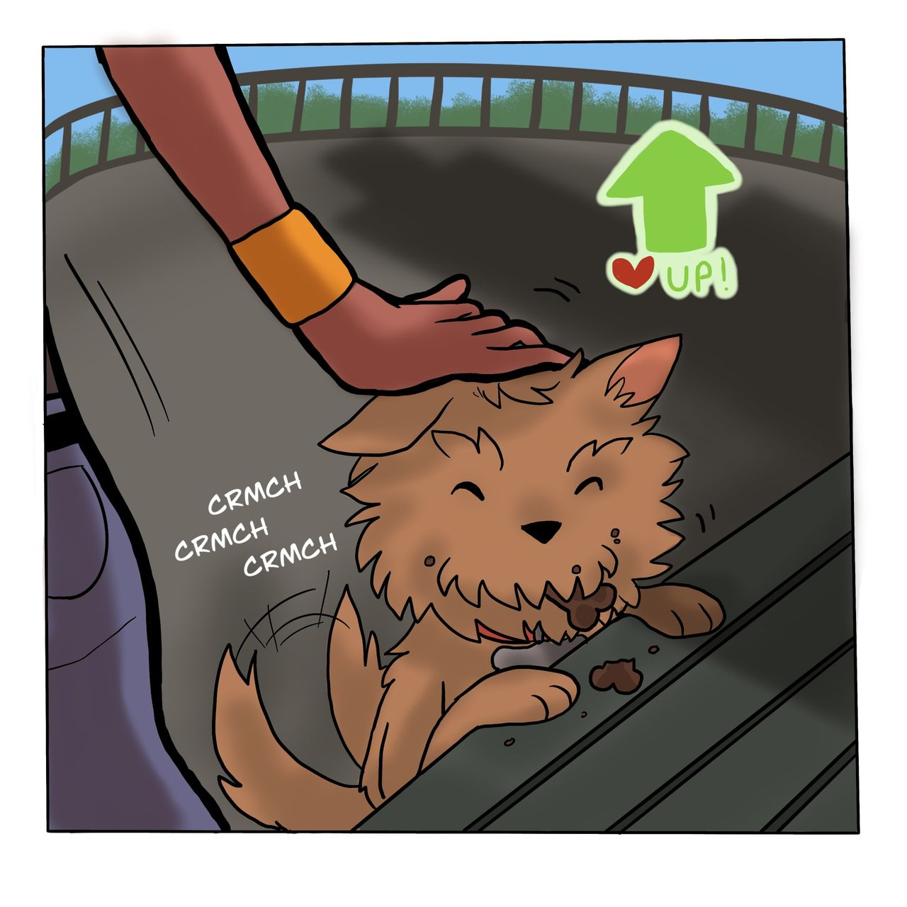 This webcomic shows the dog eating a biscuit and getting a clap on the head. Above his head is a green up arrow with a heart icon next to it, like a videogame.