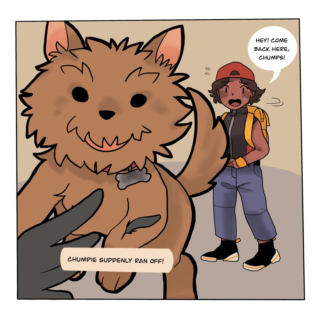 The webcomic shows the main character in the backgound shouting after the dog as he has suddenly dashed off chasing a pigeon. The foreground of the image shows the dog gleefully  pursuing the bird.