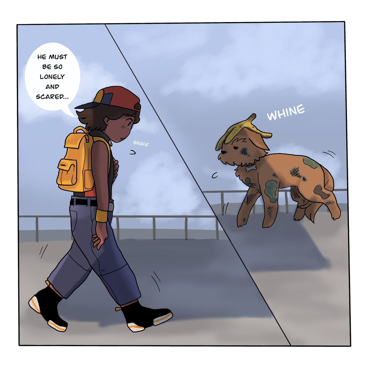 This webcomic show the main character forlorn and saying their dog must be so lonely and scared. On the opposite side of the panel Chumpie is walking towards them, whining.