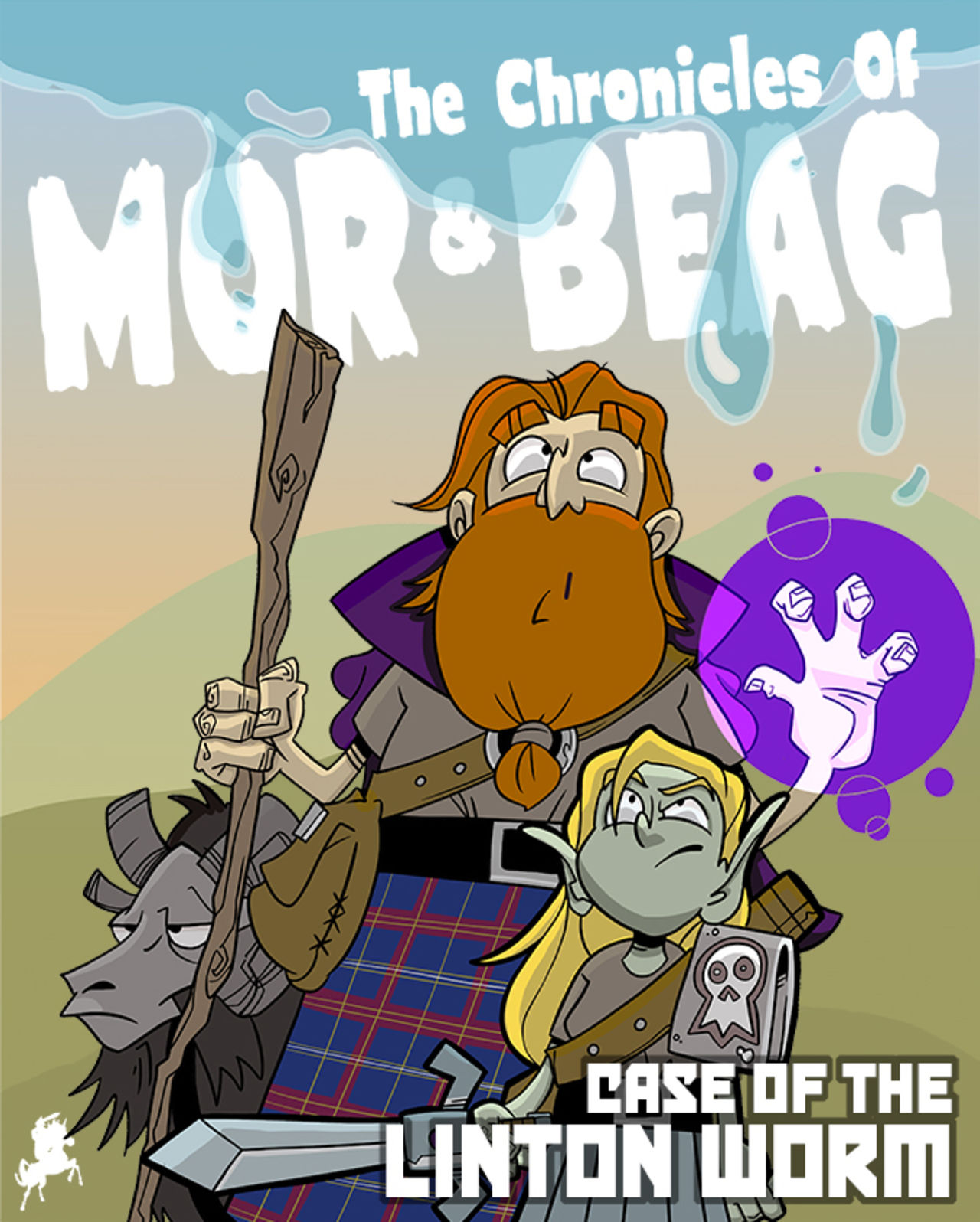 "Webcomic cover showing a ginger bearded Scotsman in Highland gear alongside a green goblin and a black ram with the comic's title above them saying ""The Chronicles of Mòr and Beag: Case of the Linton Worm""."