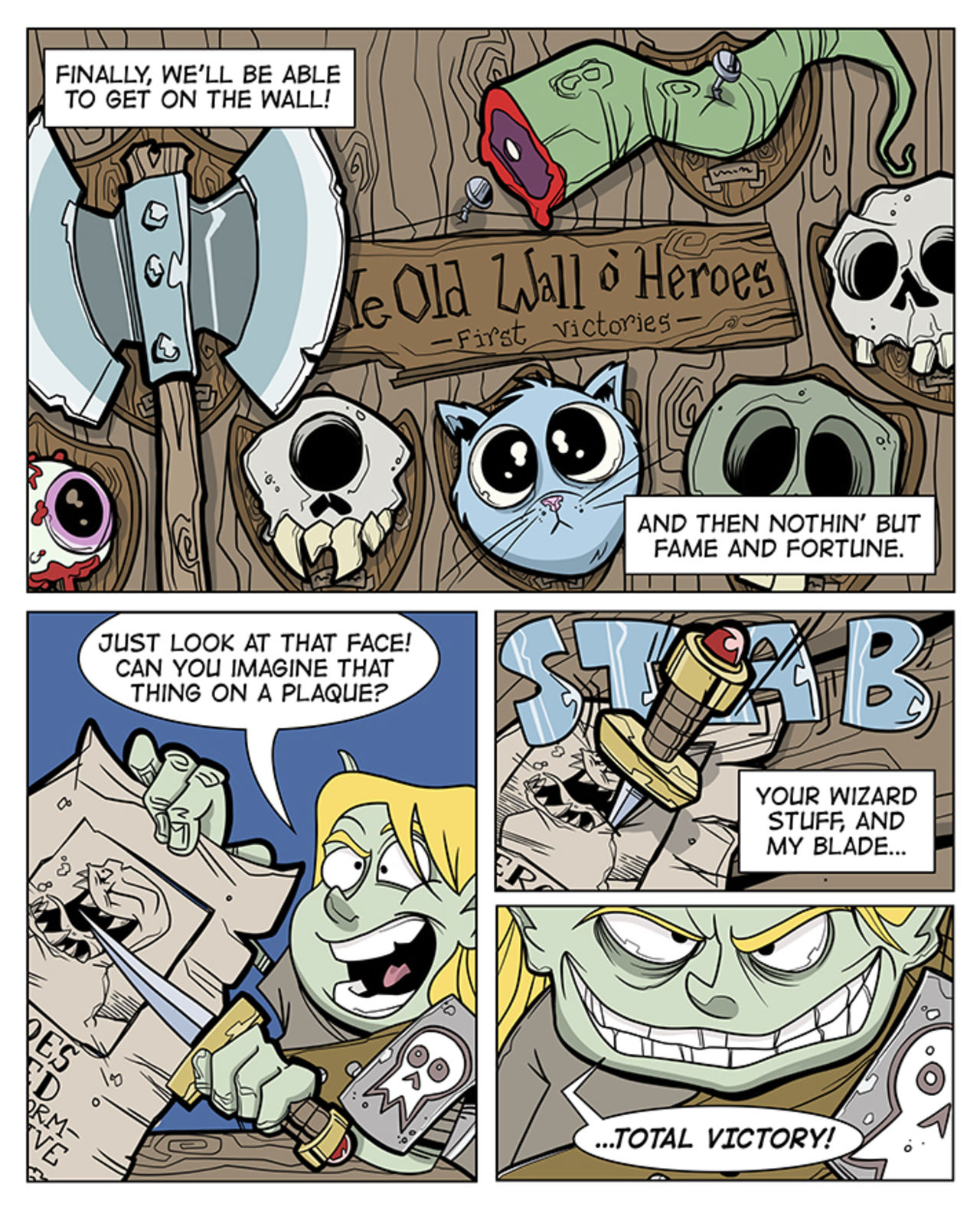 The comic continues by showing the old wall of heroes which consists of trophy heads and skulls from mythical beasts. beag says they'll finally get on that wall by hunting that worm.
