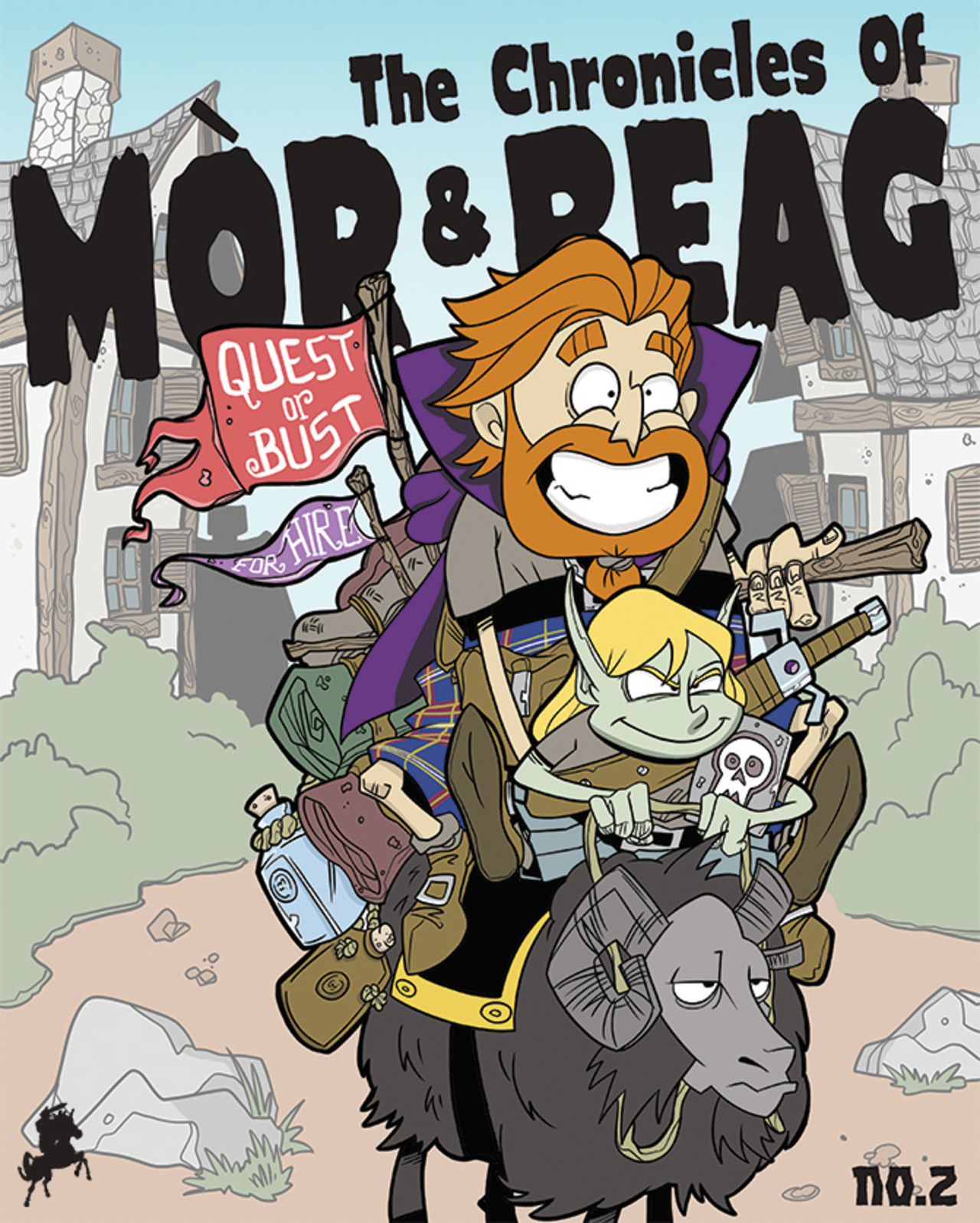 "Front cover of part 2 of the webcomic. Mòr and Beag ride on their black goat with wee flags saying ""Quest or bust"" and ""for hire""."