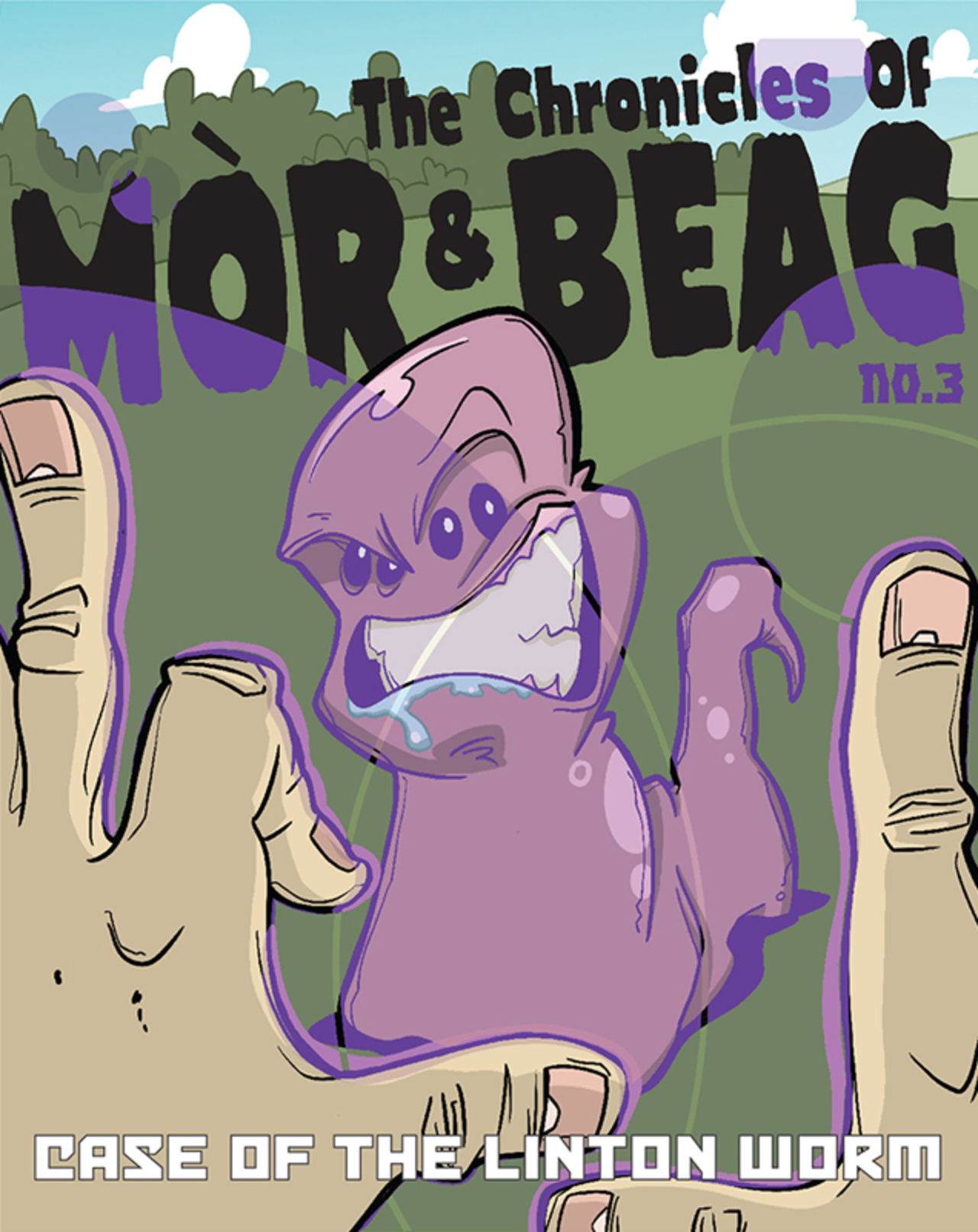 Front cover of part 3 of the webcomic. The Linton Worm can be seen in the distance snarling at Mòr and Beag.