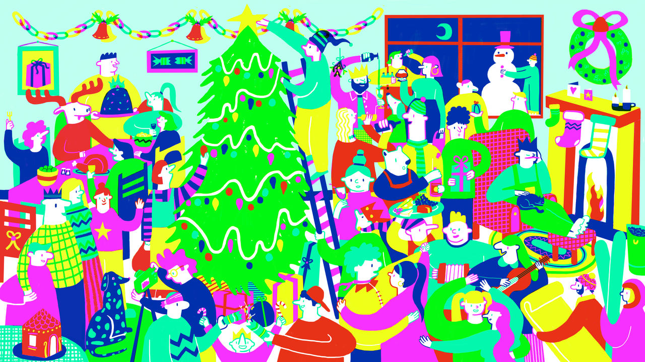 Colourful image showing a variety of figures partaking in many different festive activities. A large Christmas tree can be seen in the middle and figures fill the image all around it in this bustling scene
