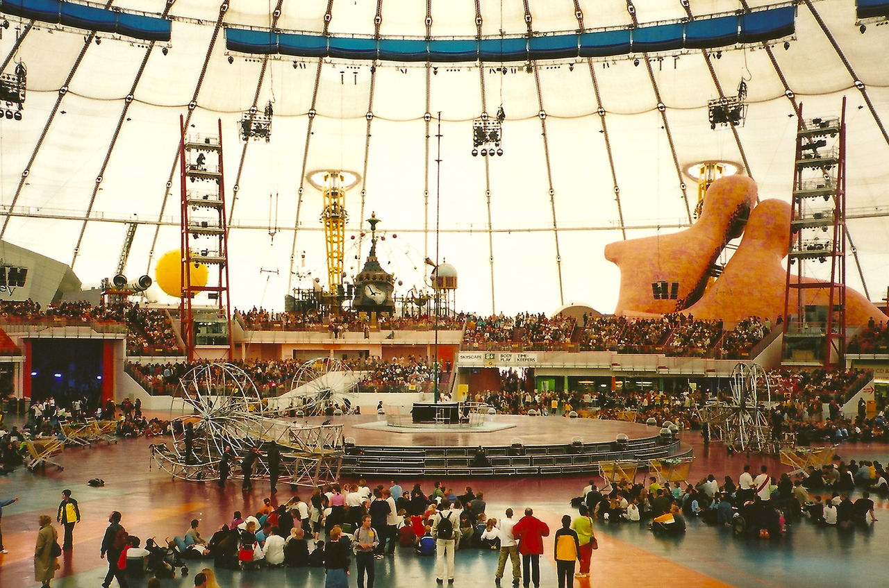The interior shot of the Millennium Dome when it first opened.