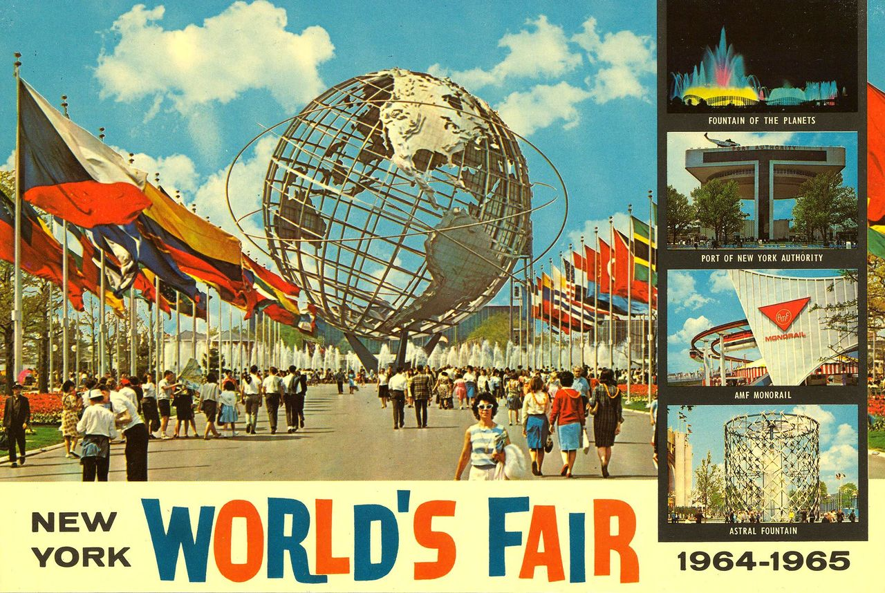Colour photos of the New York World's Fair 1964-65 with lots of flags and people walking around.