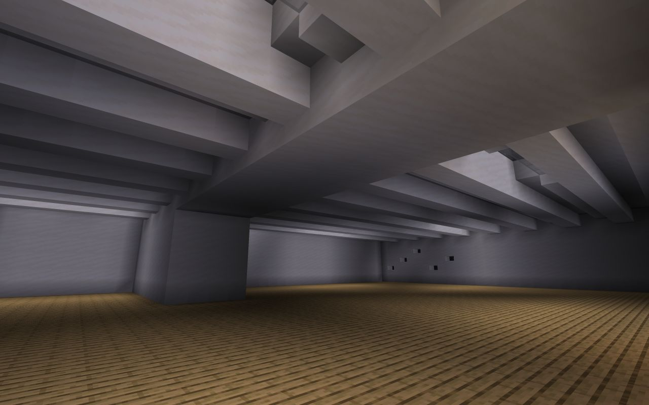 Large open space of the main galleries of the museum in Minecraft.