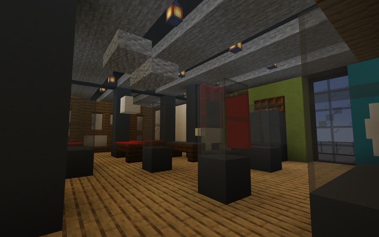 V&A Dundee's Scottish Design Galleries created in Minecraft with cases and displays.