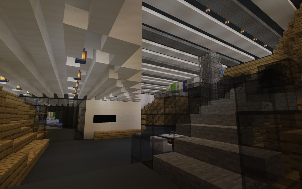 The view of V&A Dundee's main hall from the bottom of the staircase and looking out the main door, created in Minecraft.