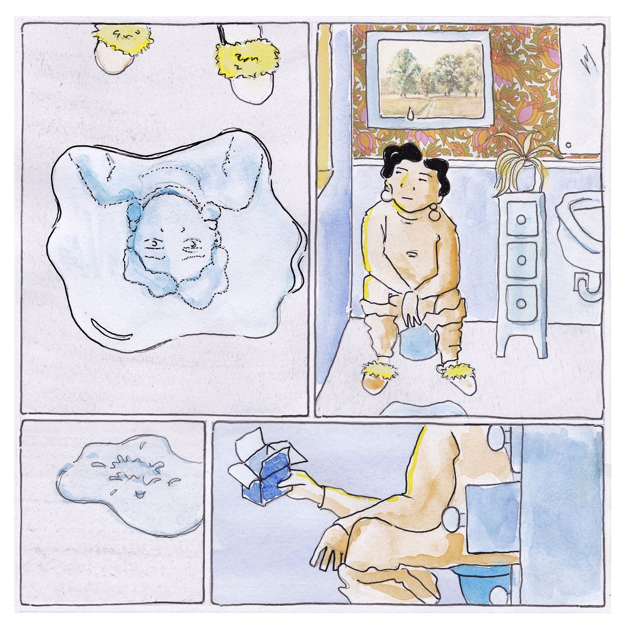 Webcomic in a watercolour and collage style. A woman sits on the toilet. There's a drip from the ceiling into a puddle on the floor. She picks up a box of tampons but its' empty.