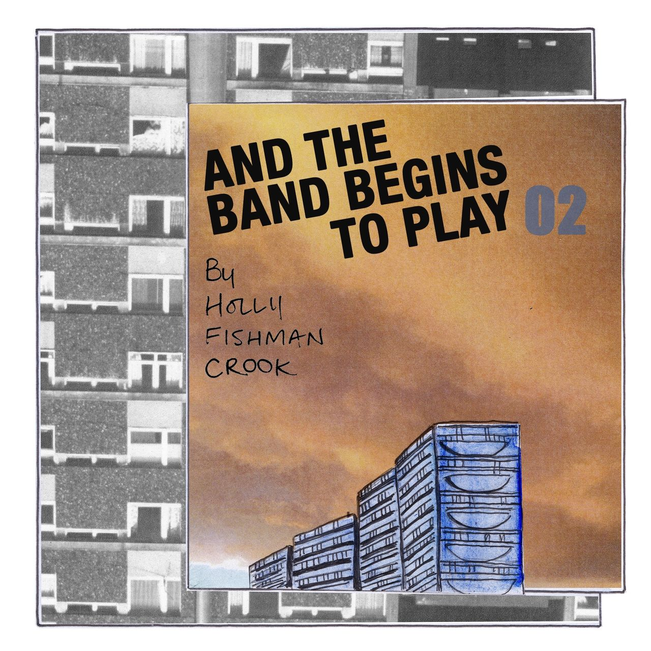 """Webcomic chapter two's front page. Made up of a collage of high rise towers. The words """"And the band begins to play part 2"""" is superimposed over the top."""