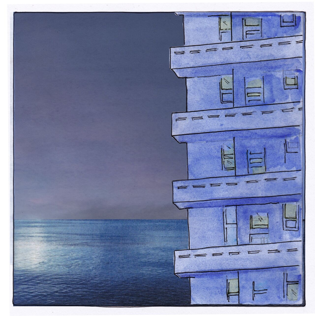 The final image for this chapter is a collage of the high rise block against the dark dusk sky.