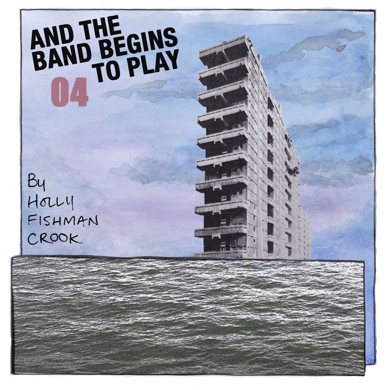 """Webcomic chapter four's front page. Made up of a collage of high rise towers. The words """"And the band begins to play part 4"""" is superimposed over the top."""