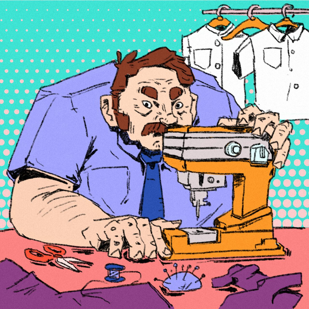Bright and colourful illustration showing an older man sat at a sewing machine looking moody.