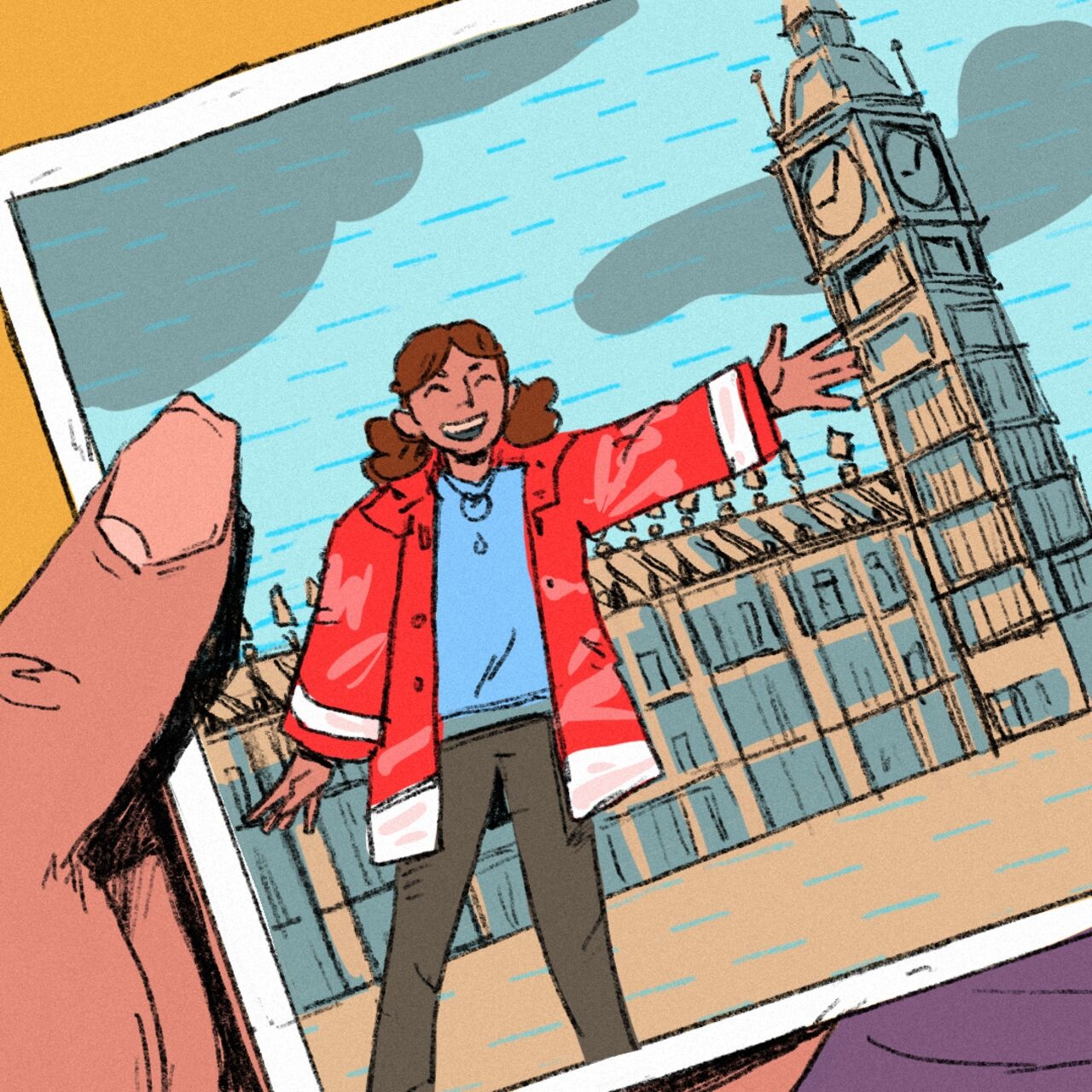 Bright and colourful illustration showing a photo of a young woman wearing a red raincoat in front of the houses of parliament.