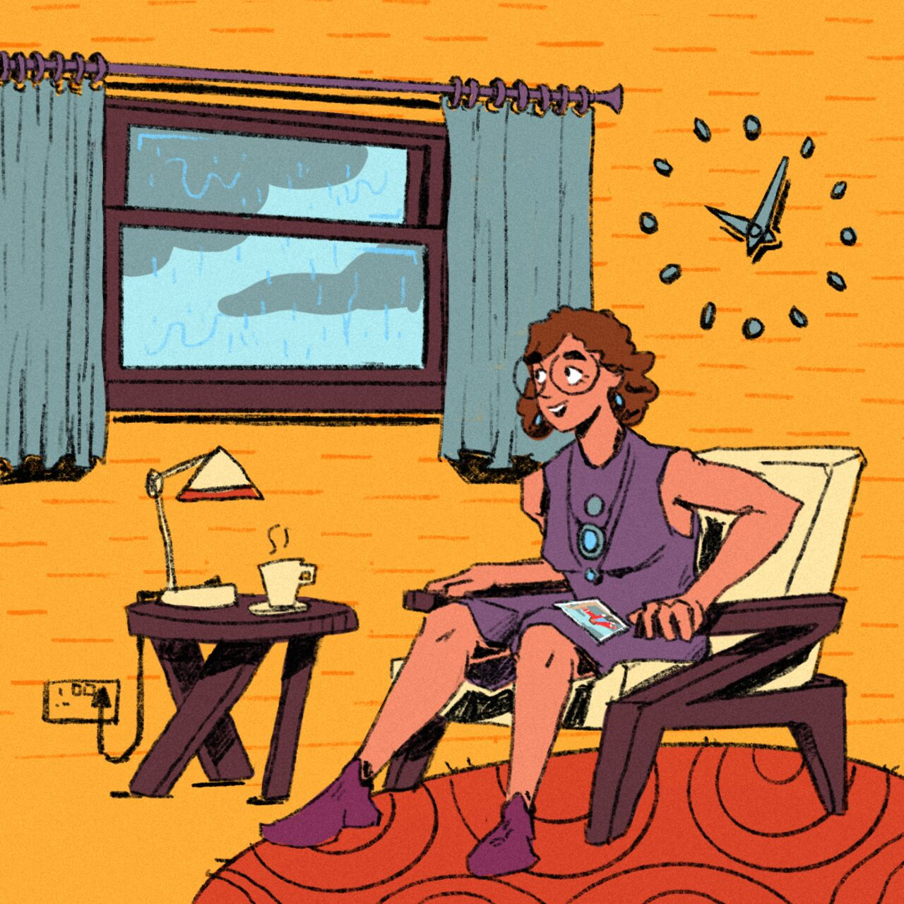Bright and colourful illustration showing the same woman, older now, sitting in her chair looking out the window at the rain pouring down.