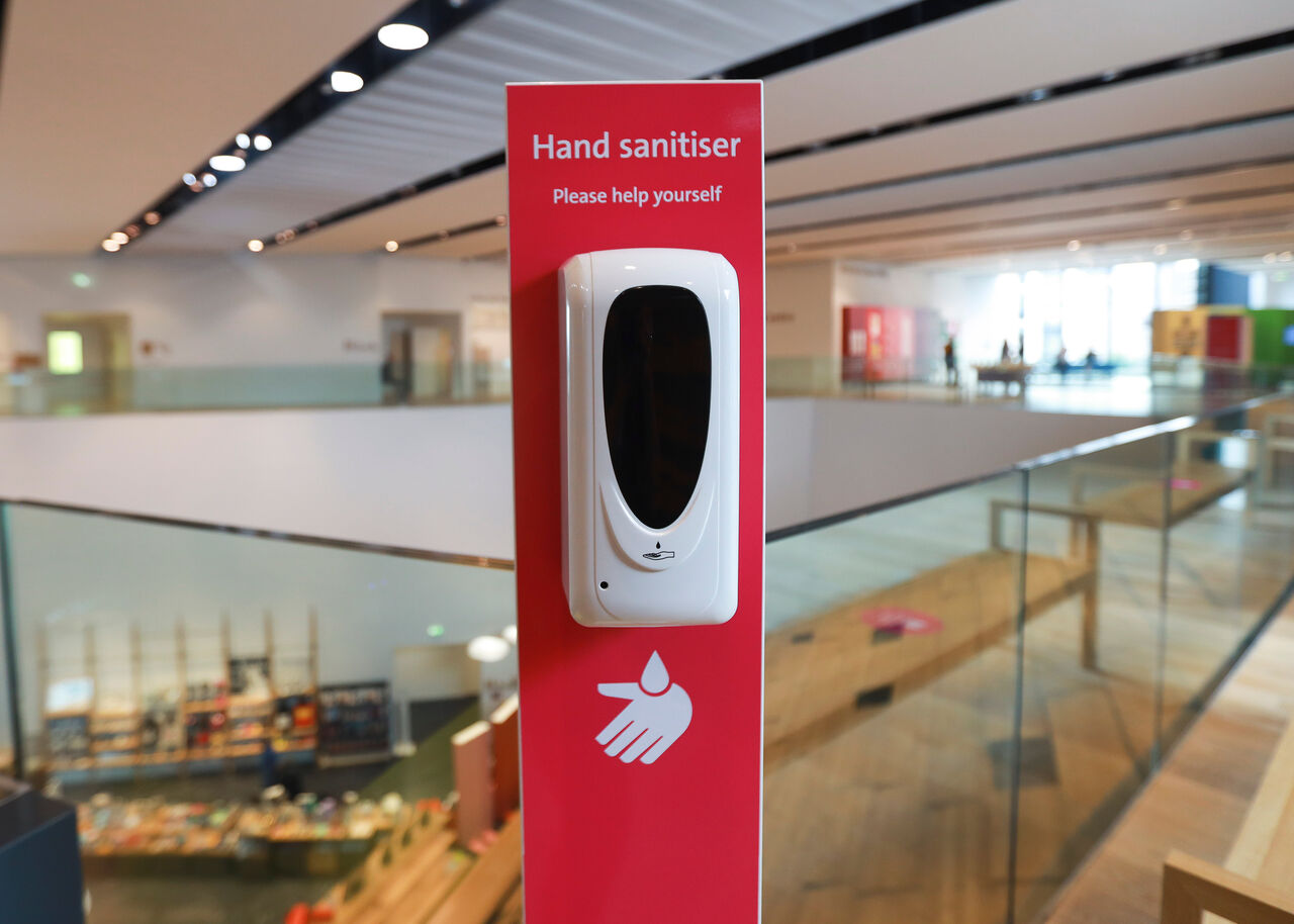 Photo of a hand sanitiser station in the museum