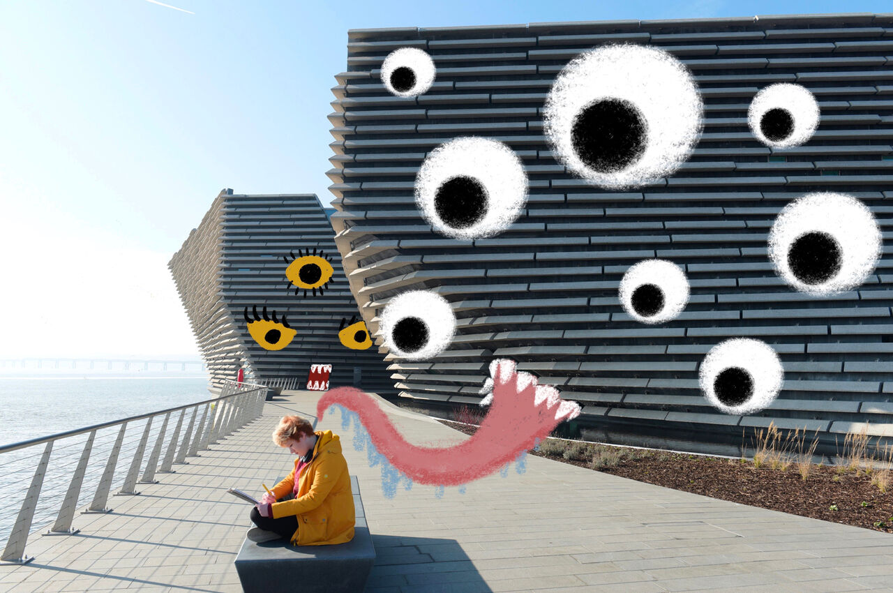 Photo of V&A Dundee with eyes and a tongue illustrated all over the building as if it's come alive.