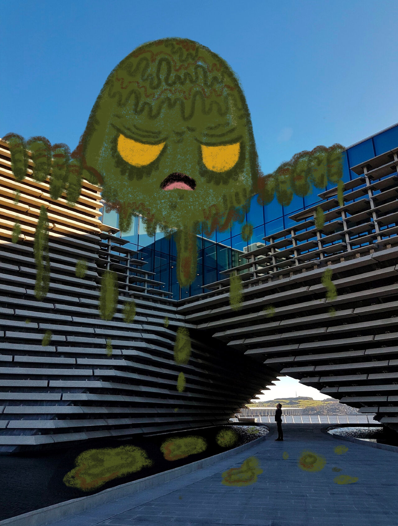 Photo of V&A Dundee with a huge slime monster illustrated over the top as if it's draped over the building.