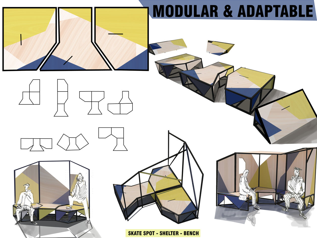 Plans and designs for skateboarding structures that can slot into existing benches around the museum in a modular fashion.