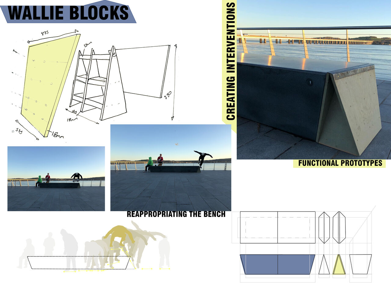 Plans and designs for skateboarding structures that can slot into existing benches around the museum.