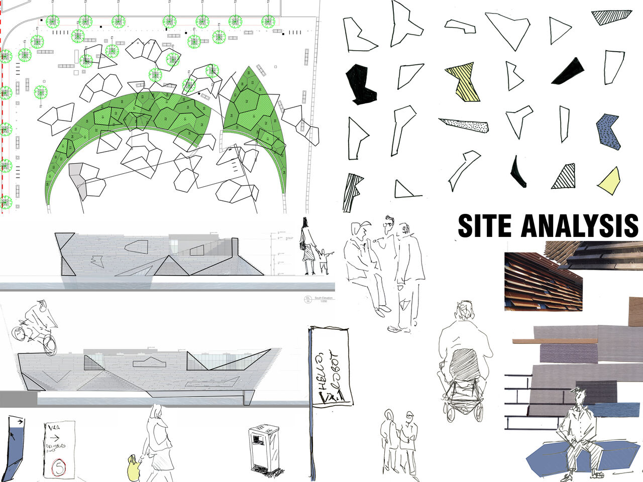A collection of illustrations and plans of V&A Dundee and its surroundings with pedestrian routes and trails mapped out.
