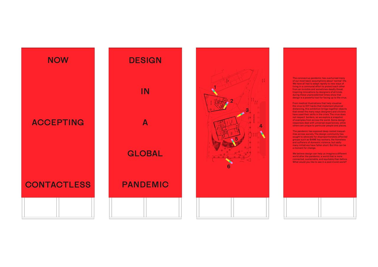 Designs for a selection of 1m wide red plinths with graphic treatments on them.