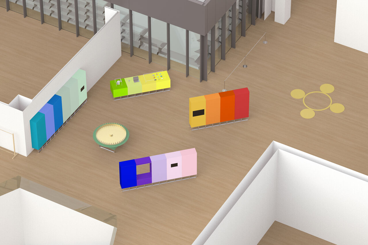 3D mock-up of Now Accepting Contactless exhibition in the hall of V&A Dundee. Multicoloured panels and plinths form a deconstructed rainbow.